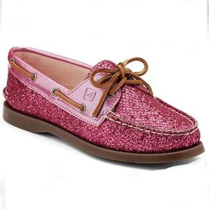 Sperry Top Sider Pink Glitter Shoes Size 8.5 NWOT